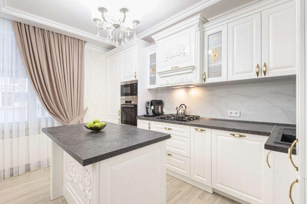White luxury modern kitchen with island